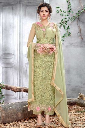 Net Pastel Green Straight Salwar Suit