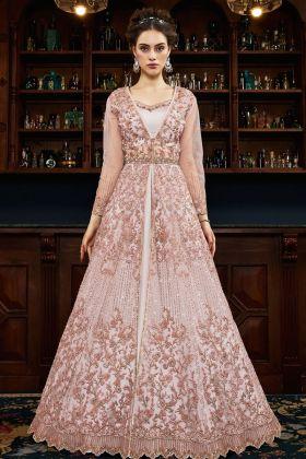 Net Peach Indo Western Salwar Suit