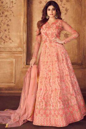 Net Peach Wedding Designer Anarkali Salwar Suit With Embroidery Work