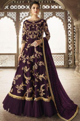 Net Purple Reception Salwar Kameez
