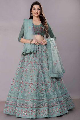 Net Reception Lehenga Choli Coding Work In Pastel Blue Color
