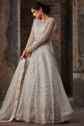 Net Reception Salwar Kameez Embroidery Work In Off White Color