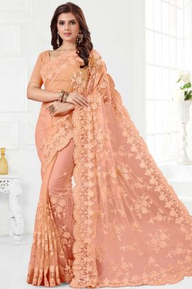 Net Saree Peach Color With Stone Work