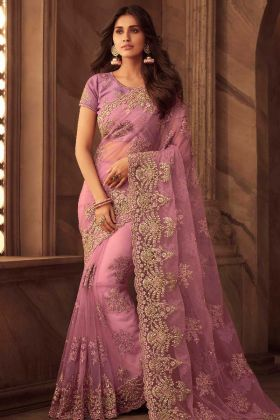 Net Saree Purple Color With Embroidery Work