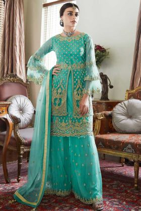 Net Sharara Dress Embroidery Work In Turquoise Color