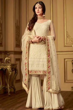 Net Sharara Salwar Suit Cream Color With Embroidery Work