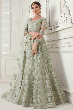 Net Wedding Lehenga Choli Cording Embroidery Work In Mint Green Color