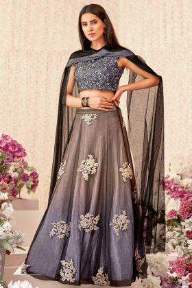 Net Wedding Lehenga Choli In Pink Purple Color