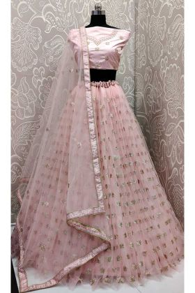 Net Wedding Lehenga Choli Resham Embroidery Work In Baby Pink Color