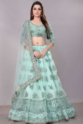Net Wedding Lehenga Choli Zari Embroidery Work In Aqua Blue Color