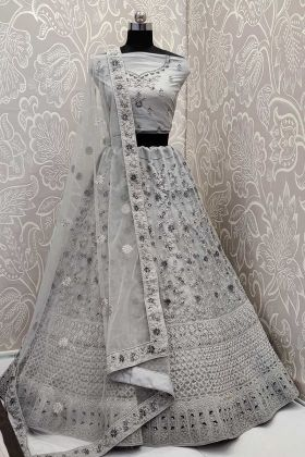 Net Wedding Lehenga Choli Zari Embroidery Work In Grey Color