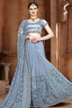 Net Wedding Saree Grey Color With Embroidery Work