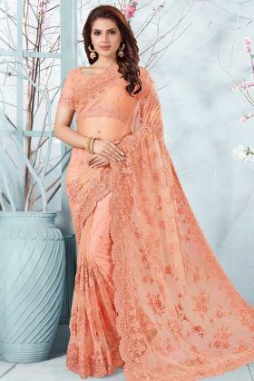 Net Wedding Saree Peach Color With Resham Embroidery Work