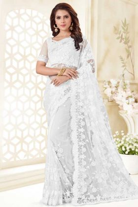 Net Wedding Saree White Color With Resham Embroidery Work
