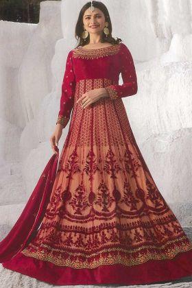 Net With Georgette Satin Anarkali Salwar Kameez Red Color