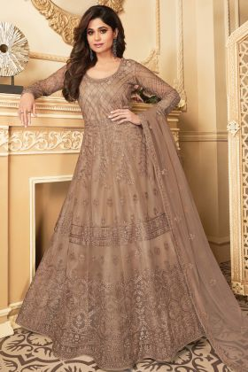 New Arrival Beige Color Butterfly Net Party Wear Anarkali Suit