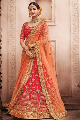 New Arrival Bridal Wear Rani Pink Color Silk Fabric Heavy Lehenga Choli