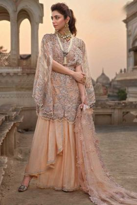 New Arrival Cream Color Pretty Embroidered Soft Net Pakistani Salwar Suit
