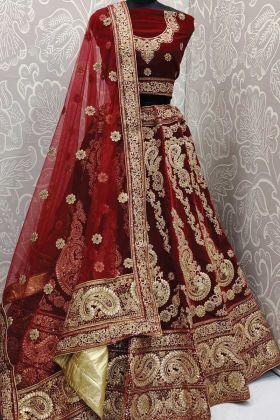 New Arrival Designer Maroon Color Bridal Wear Velvet Heavy Fused Lehenga Choli