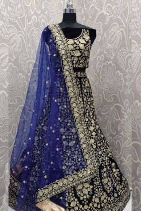 New Arrival Designer Navy Blue Bridal Wear Lehenga Choli