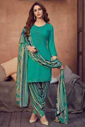 New Arrival For Ladies Pure Viscose Rayon Salwar Suit In Rama Color