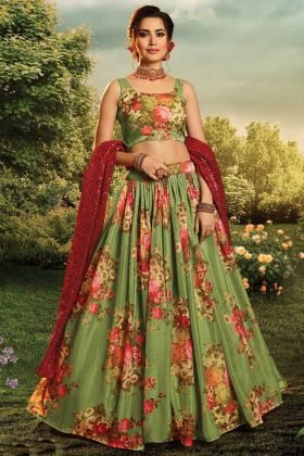 New Arrival Green Pure Organza Festive Wear Lehenga Choli