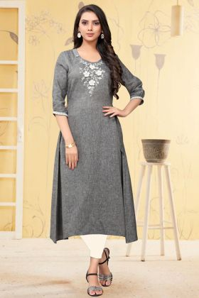 New Arrival Grey Embroidred Work Linen Readymade Kurti