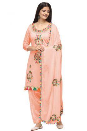 New Arrival In Peach Color Chanderi Cotton Patiala Salwar Suit