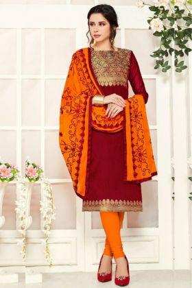 New Arrival Of Banarasi Causal Salwar Suit Material In Maroon Color