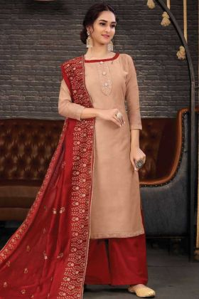 New Arrival Of Dark Cream Chanderi Salwar Suit