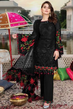 New Arrival Of Pakistani Georgette Black Color Salwar Suit