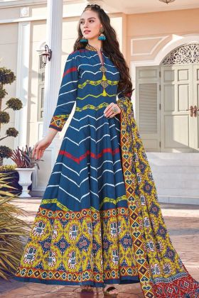 New Arrival Of Readymade Blue Soft Silk Designer Printed Gown