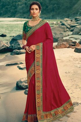 New Arrival Of Traditional Vichitra Silk Wine Color Saree