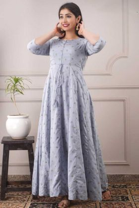 New Arrival Pure Chanderi Sky Blue Daily Wear Kurti