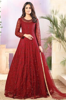 New Arrival Red Color Net Fabric Party Wear Anarkali Heavy Suit