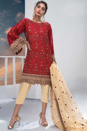 New Arrival Red Color Party Wear Pakistani Style Suit