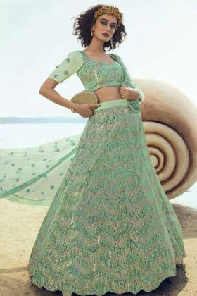 New Arrival Sea Green Soft Net Heavy Lehenga Choli For Wedding