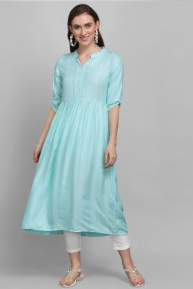 New Arrival Sky Blue Color Rayon Fabric Readymade Kurti