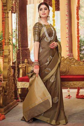 New Arrival Soft Weaving Silk Designer Saree In Dark Beige Color
