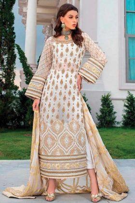 New Arrival Stylish Georgette White Color Salwar Pakistani Suit