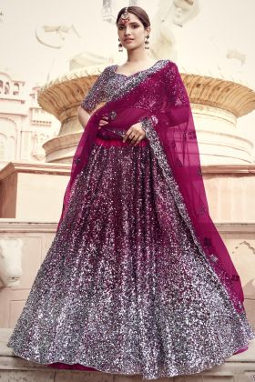 New Arrival Wine Color Soft Net Sequence Worked Heavy Lehenga Choli