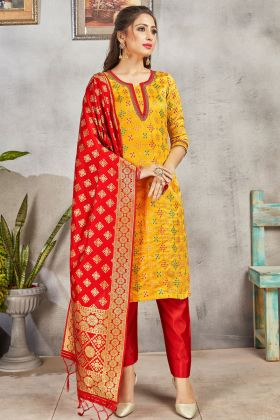 New Arrival Yellow Color Party Wear Banarasi Art Silk Suit
