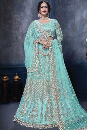 New Bridal Designer Aqua Color Net Lehenga Choli