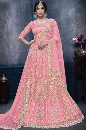 New Bridal Designer Light Pink Color Net Lehenga Choli