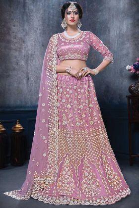 New Bridal Designer Light Violet Color Net Lehenga Choli