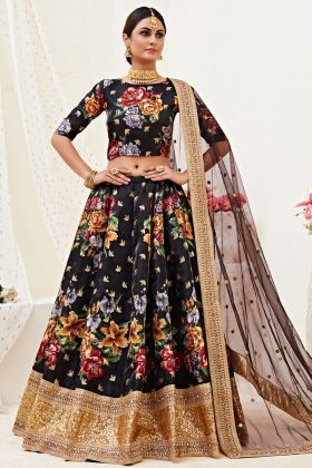 New Collection Of Banglori Satin Black Color Lehenga Choli