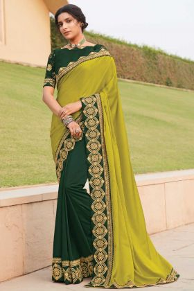 New Collection Of Fancy Fabric Green Color Saree