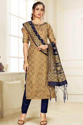 New Designer Beige Salwar Suit For Party Wear
