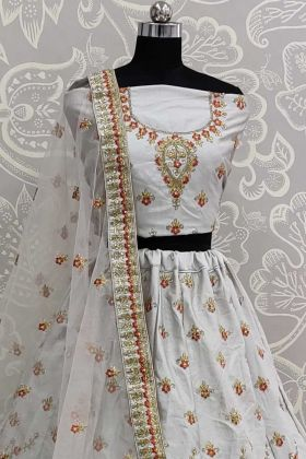 New Designer Grey Color Bridal Lehenga Choli In Silk