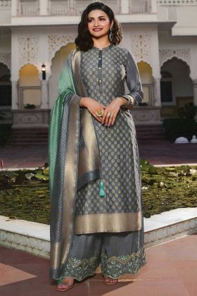 New Designer Grey Jacquard Silk Latest Salwar Suit